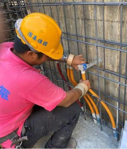 A棟7F柱牆水電配管(出線盒管路配置)