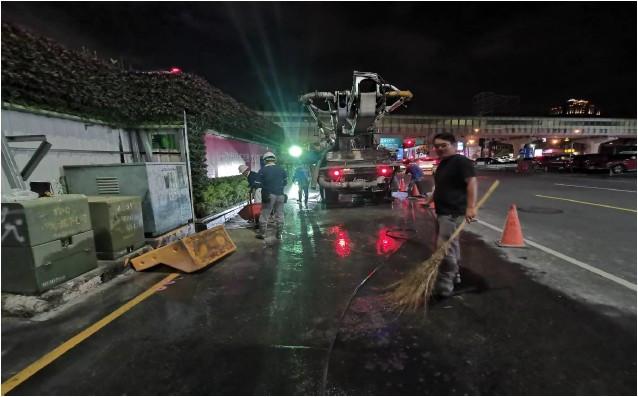 1FL 混凝土澆置作業完成後道路清洗