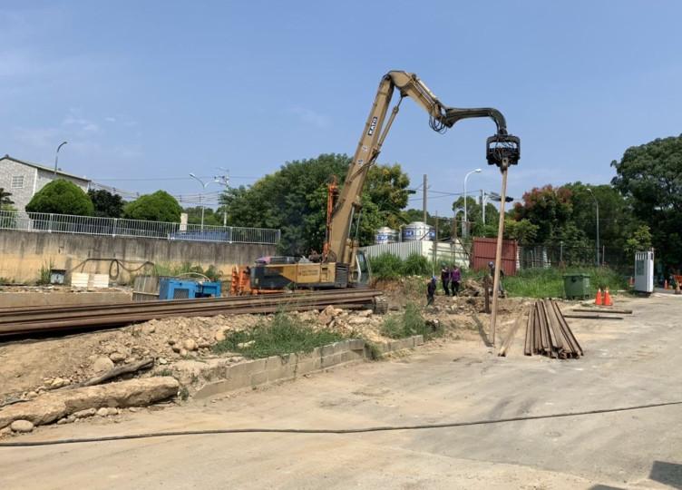 會館鋼軌樁施作
