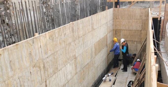 B4F A3 水箱牆模組立及水電放樣