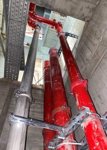 B棟管道間1~9F消防、給水幹管配置