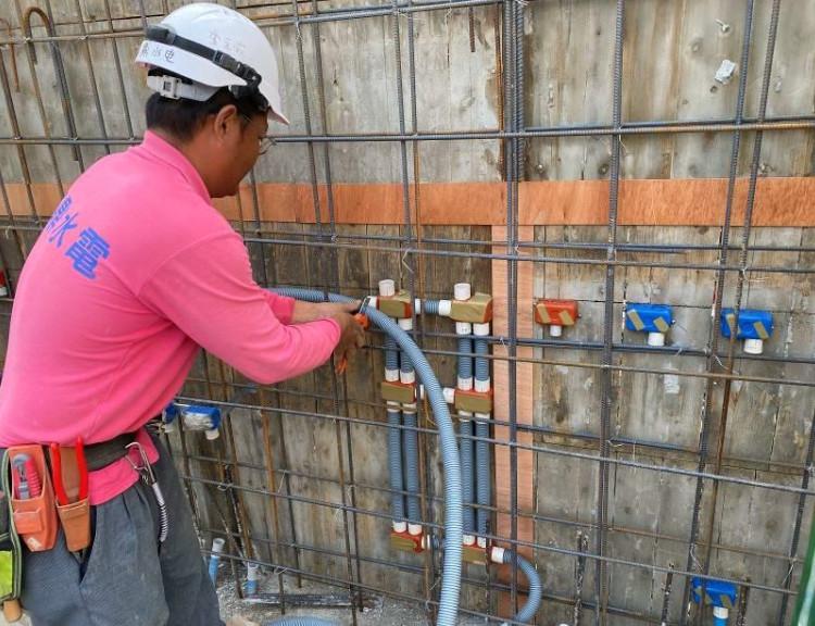 A 棟 7F 柱牆水電配管(出線盒管路配置)