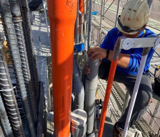 B棟6F柱牆水電配管(排水幹管延伸配置)