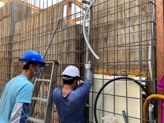 B3F 柱牆水電管路配置(消防灑水管預埋)