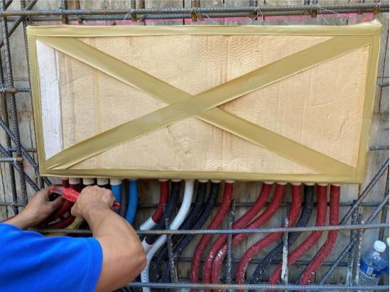B1F 柱牆水電配管(弱電箱安裝及配管)