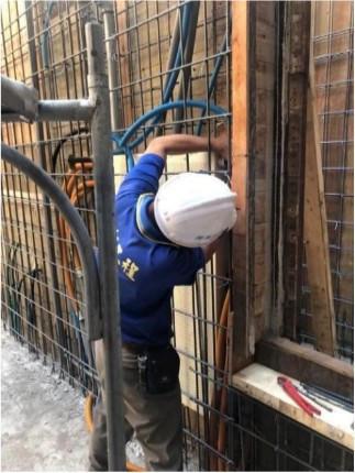 B4F 柱牆消防箱體及管路配置