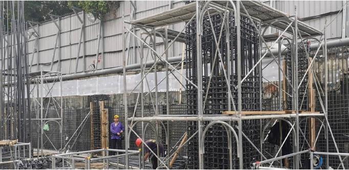 B1F 獨立柱施工架搭設