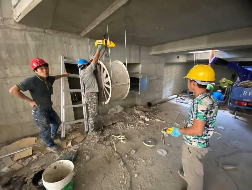 地下室臨時排風機安裝定位
