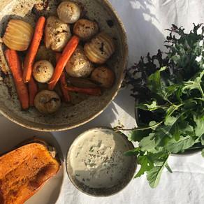 légumes d'hiver rôtis sauce sésame