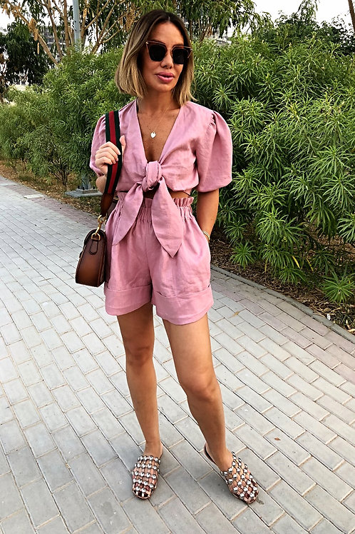 Front tie Top and Shorts Set