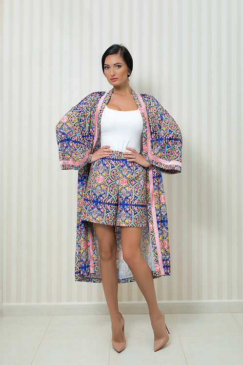 Silk detailed Cardigan and Shorts Set
