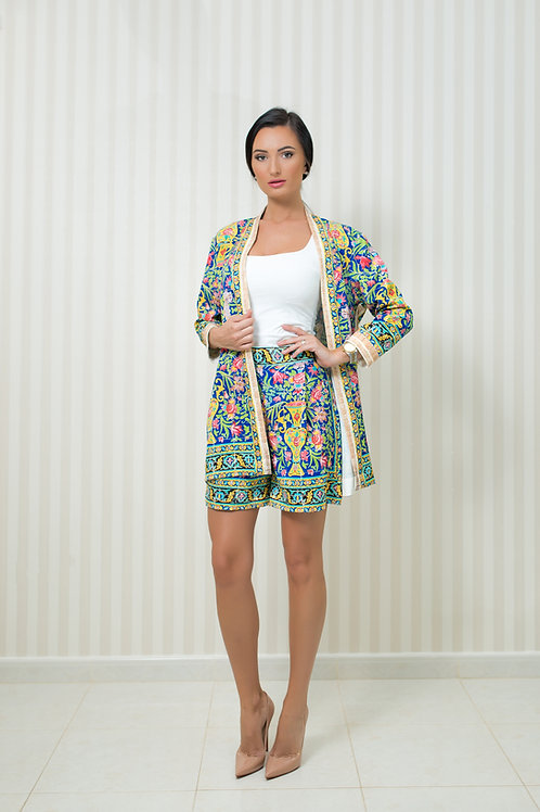 Printed Cardigan and Shorts Set