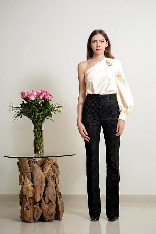 One shoulder top with high waist trousers