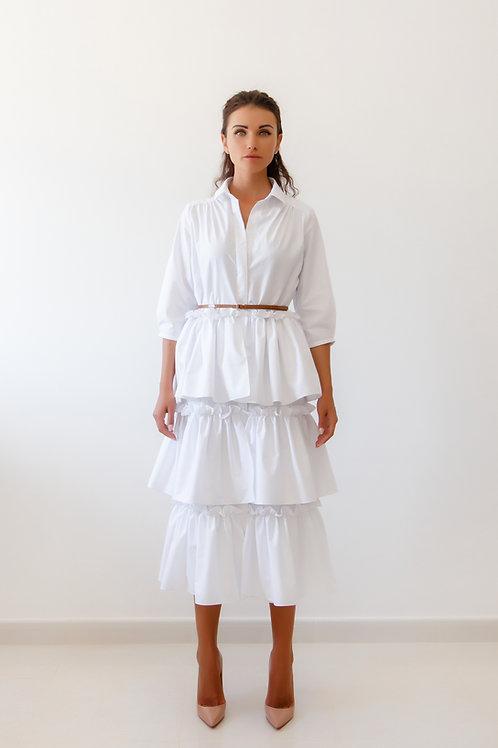 Ruffled front shirt dress