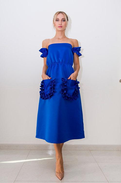 Ruffle Detail Pockets and Sleeves Midi dress