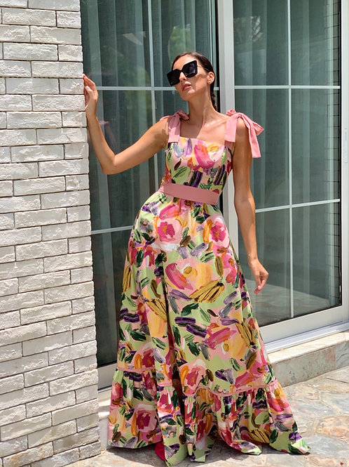 Cotton printed maxi dress