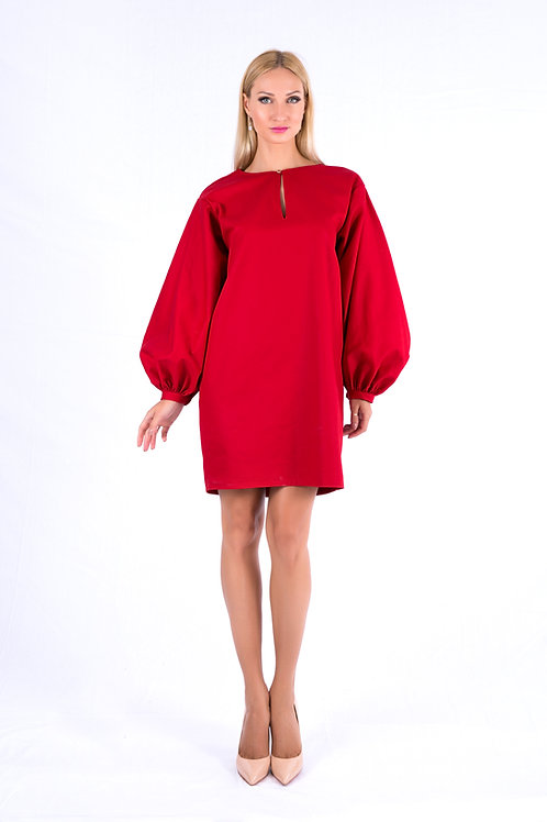 Cocoon dress with puffed sleeves