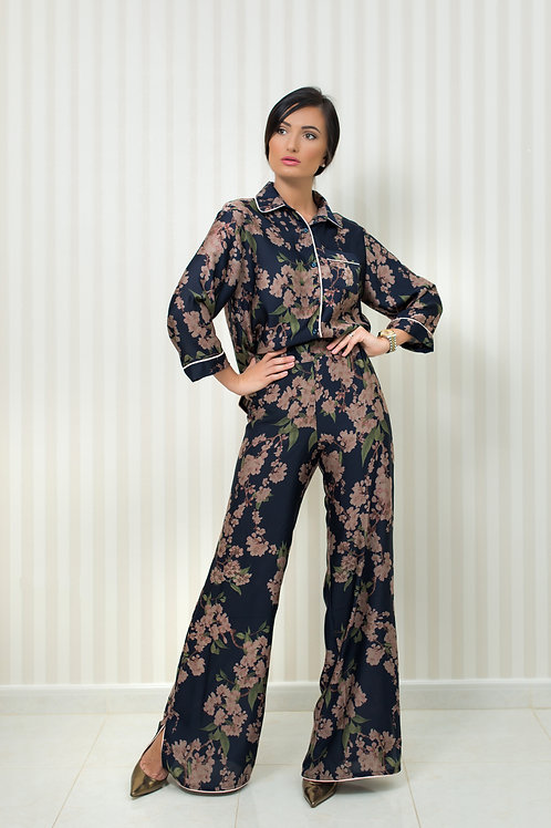 Silky Blouse and Trousers Set