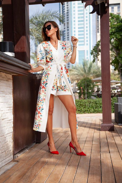 Flower print cotton dress with shorts
