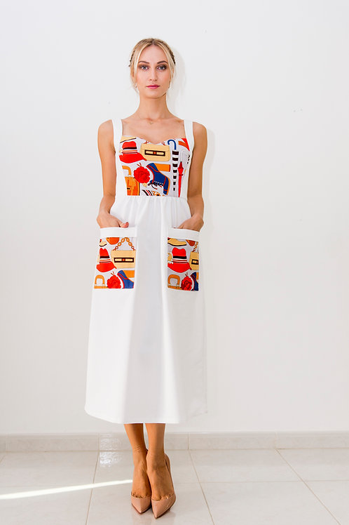 Midi dress with printed front and pockets