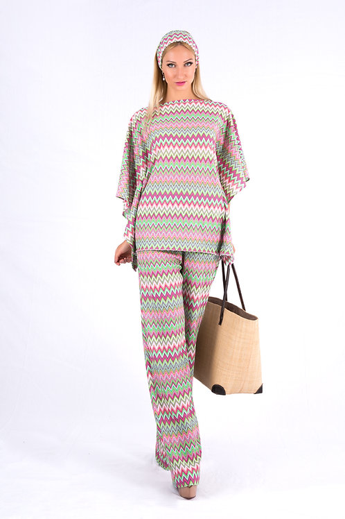 Multicolored crochet knit pants and top