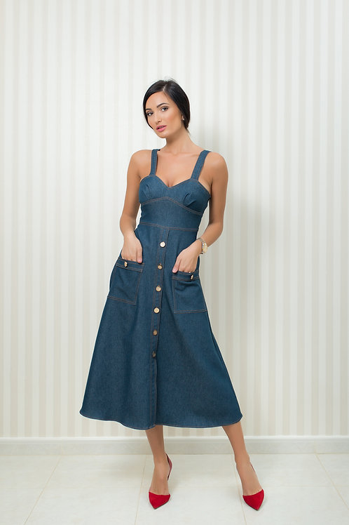 ON SALE  Denim dress with gold tone buttons