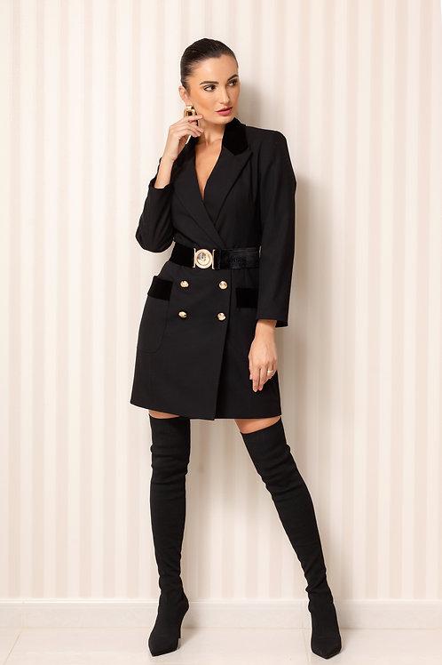 Velvet Trimmed Blazer Dress with Belt