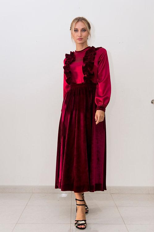 Ruffled satin-velvet dress