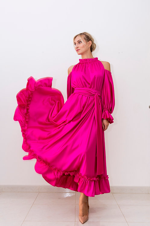 Ruffled Silk-Satin Dress