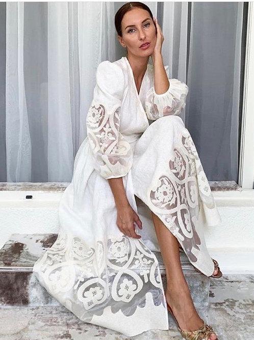 Linen embroidery wrap dress