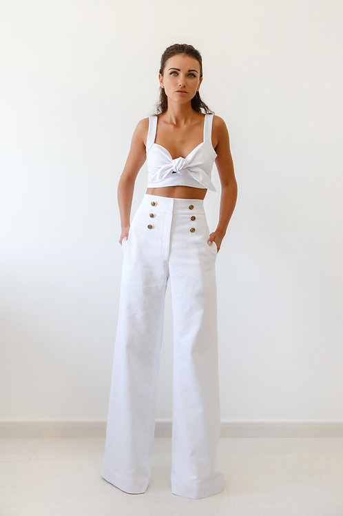 Cropped top and high waist trousers
