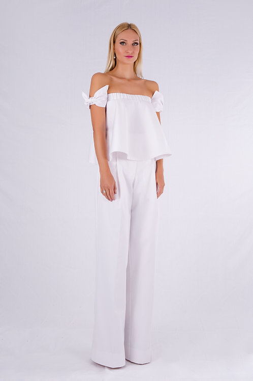 Bow sleeve off the shoulder top and pants