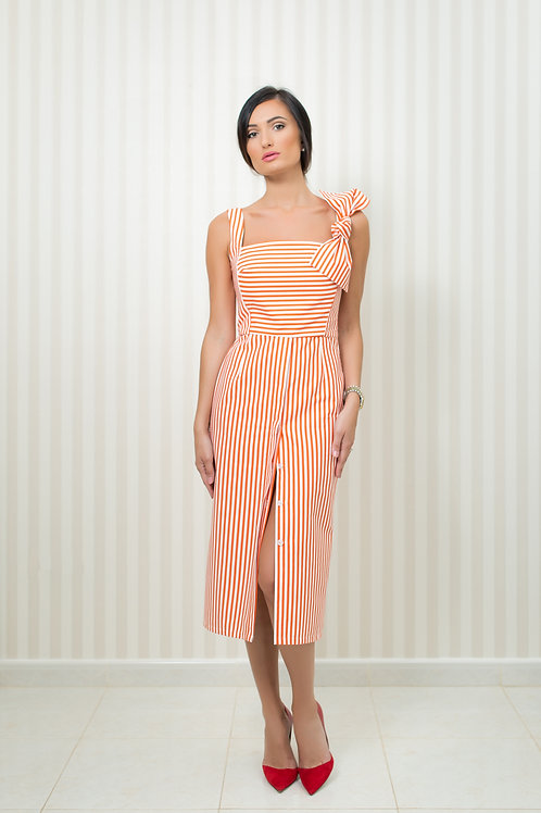 Stripy Dress with Removable Bow