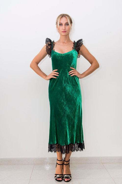 Lace detail velvet slip dress