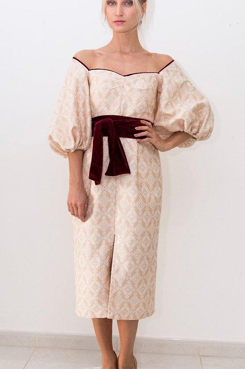 Jacquard Midi Puff Sleeve Dress