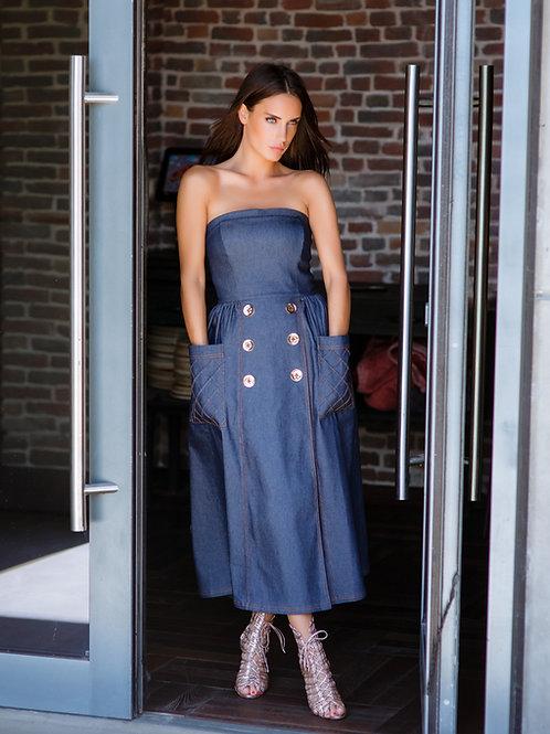 Denim Open Shoulder Dress