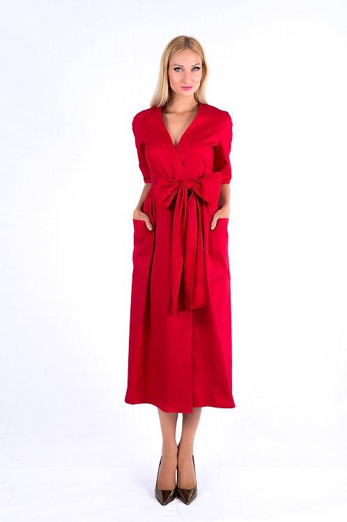 Wrap dress with bow belt