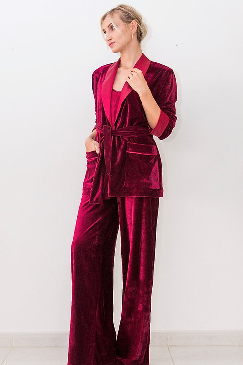Satin Trimmed Velvet set