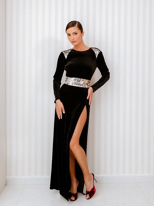 Velvet open back dress