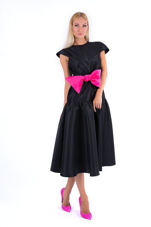 Satin dress with double bow belt