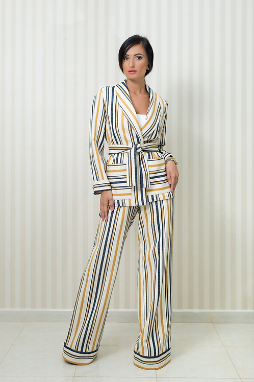 Stripped Jacket and Wide Leg Trousers Set