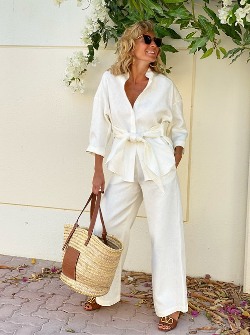 Linen front tie shirt and trousers set