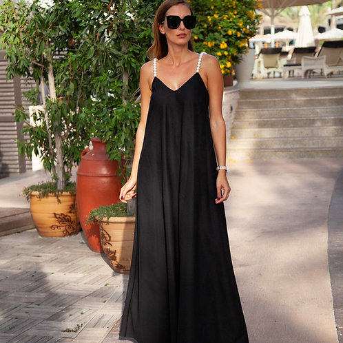 Pearl strap maxi dress