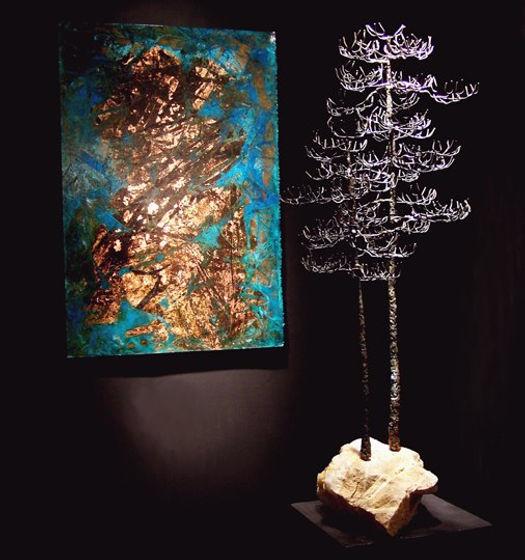 Jacob G Colburn copper metal sculpture with acid patina