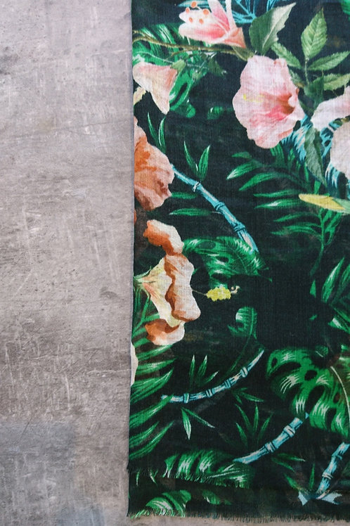 zomersjaal bloemen zwart/groen