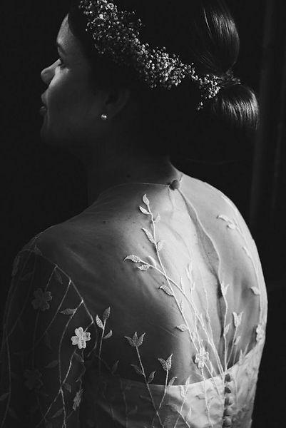 nienke | bijtje bruid in custom trouwjurk met gebloemde thule