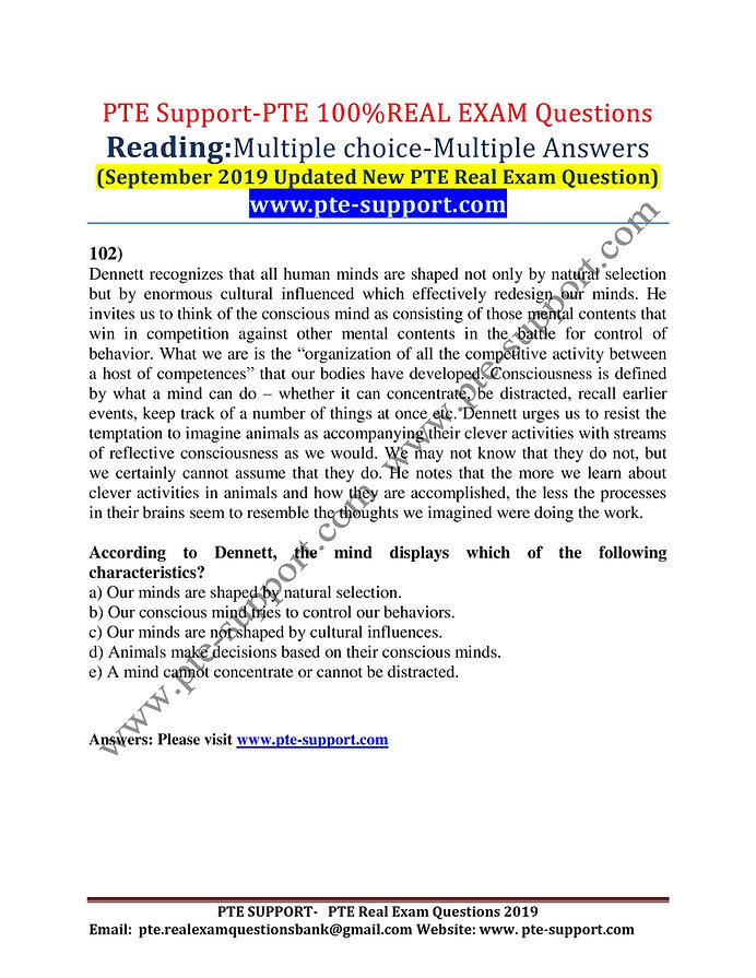 PTE Real Exam Questions Bank (September 2019 Update)-FREE