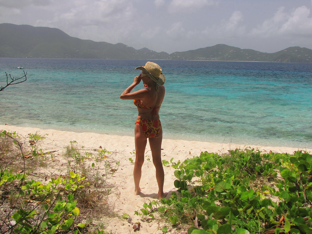 Lisa looking out from desolate Sandy Cay