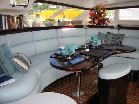 The luxurious salon aboard Nutmeg