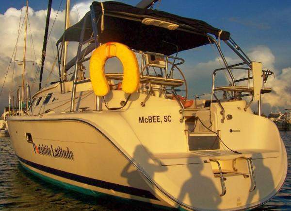 Sailboat docked at sunset